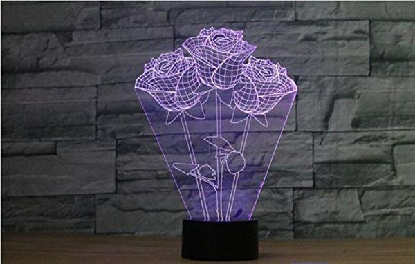 3D The Language of Roses Lampada Luce notturna Touch Table Desk Illusione ottica Lampade 7 luci che cambiano colore Decorazione della casa Regalo di compleanno di Natale