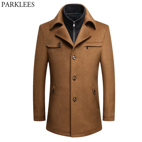Fake Two Pieces Cashmere Coat Men 2018 Winter New Men's Long Wool Trench Coat Brand Slim Fit Wool & Blends Male Peacoat Overcoat