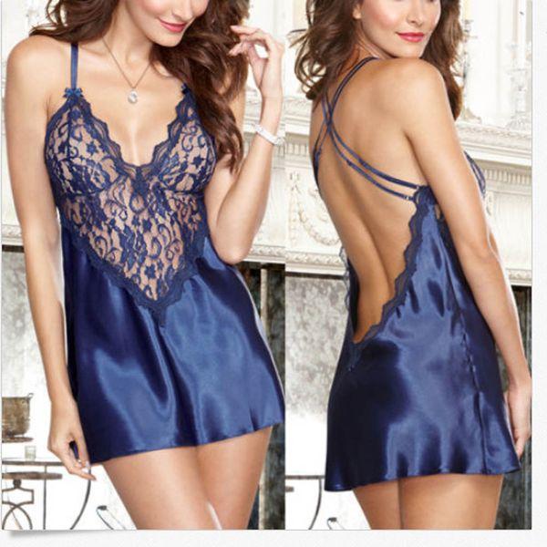best selling Summer Sexy Lace Babydoll Lingerie Open Back Sling Dress Women Nightwear Underwear Short Ladies Sleepwear Pajamas Free Size