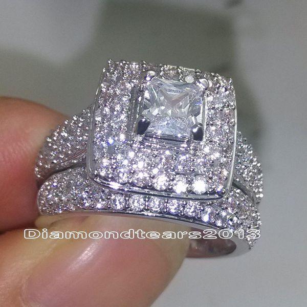 Joyería de moda 134 unids tamaño de las piedras 6-10 14kt de lujo de oro blanco Lleno de topacio blanco lleno CZ Diamond Wedding Women Ring Set para regalo de amante