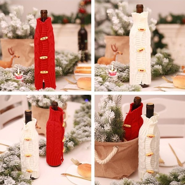 Hot 2 Color Foreign Trade Christmas Decorations Christmas Champagne Red Wine Bottle Sleeve Bar Creative Knitting Bottle Coat T7I277