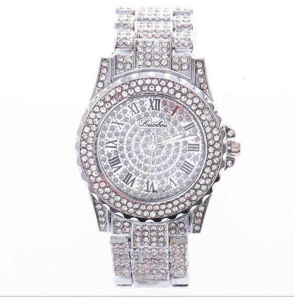 Gold silbriges Rosen-Gold-Luxuriöses gepflastertes Kristall QUARTZ Rom-Stahlstreifen Armbanduhr-hochwertige Art und Weise Mannfrauenquarz Armbanduhr