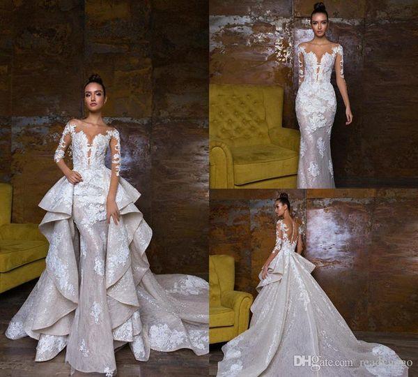 Luxurious Mermaid Wedding Dresses With Detachable Train 2019 Cascading Ruffles Lace Wedding Dresses Applique Sexy Bridal Gowns Chapel Train