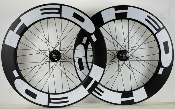 HED 700C Track bike carbon wheels fixed gear street 88mm depth 25mm width bicycle clincher/Tubular carbon wheelset U-shape rim
