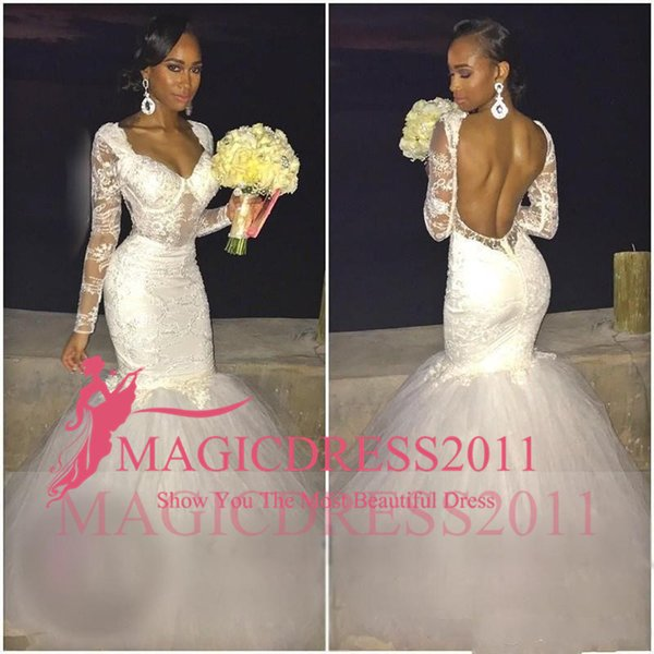 2019 White Lace Applique Mermaid Wedding Dresses Long Sleeves Sexy Open Back Sweetheart Trumpet Bridal Gowns Puffy Tulle Train Wedding Dress
