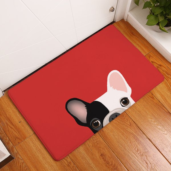 Kitchen Mats for Floor Anti Slip Mats Brief Cute Cartoon Bulldog Puppy Welcome Home Entrance Door Flannel Rug dog pattern