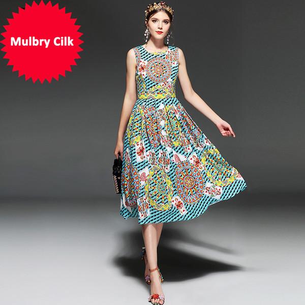 New 2018 Fashion Designer Runway Dress Summer Women Sleeveless Playing card Printed Vintage Retro Dress