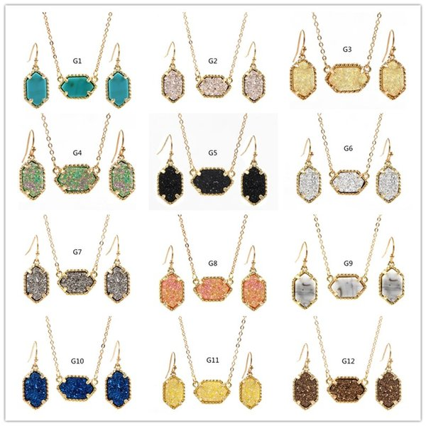 top popular 15Colors kendra Drusy Druzy Necklace With Stud Earrings Jewelry Set Gold Silver Plated Resin Geometry Stone Scott Necklace Earrings 2019