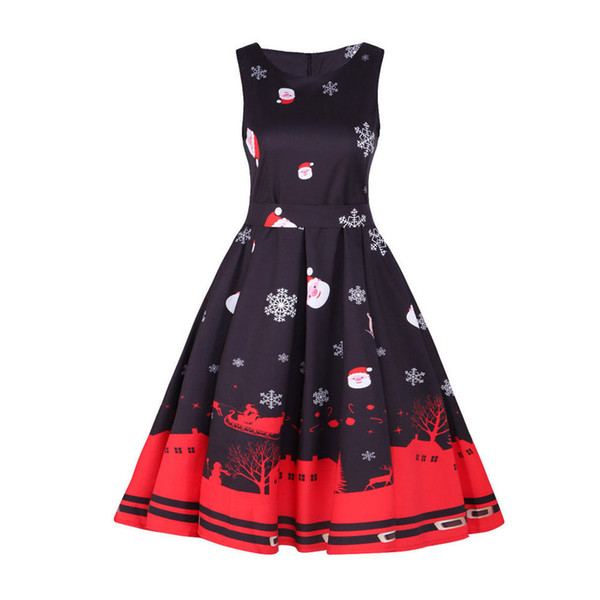 Christmas Swing Dress.Winter Dress Womens Vintage Santa Christmas 1950s Retro Style Xmas Evening Swing Dress Super Quality Robe Femme Vestidos Cocktail Wear For Women