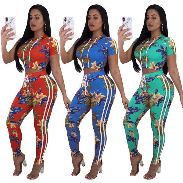 Womens Floral Tracksuit Fashion Hooded Crop Top and Long Pants 2 Piece Set Female Cotton Casual Pants Suits Set Summer Outfits