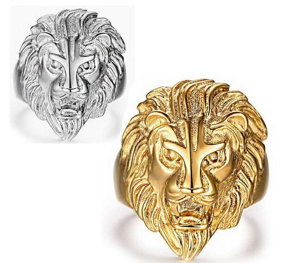 Moda Kaya rulo Hip-Hop Süsler Overbearing Aslanın kafa Titanyum çelik Paslanmaz çelik Punk Adam Altın Yüzük Beyaz Altın Yüzük boyutu Bize 6-14