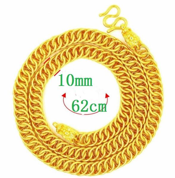 Moeda europeia ornamentos de ouro colar de ouro 24 '' POLEGADA 10 MM Loong cabeça homens mulheres Moda simples Colar de poeira de ouro vietnamita
