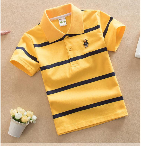 top popular 2018 Fashion Summer Kids Boy Polos Short Shirt Tops Cotton Polo Shirts High Quality Stripe Boys Shirts Clothes Children Clothing 2021