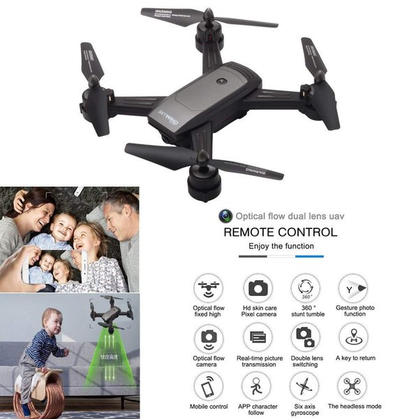 New LH-X34 RC Quadcopter Dual Camera Wifi RC Drone Optical Flow Dual Lens Gesture Photo Helicopter 720P Video Camera Xmas Gift with Package