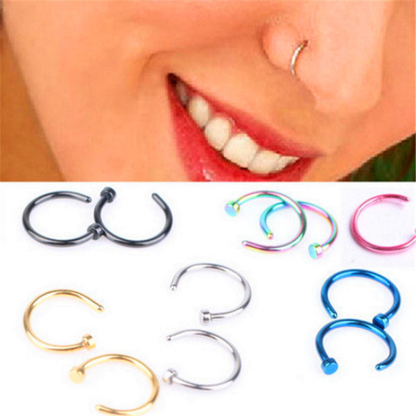 Body Ring Fake Piercing Jewelry 5 Colors Women Nostril Nose Hoop Stainless Steel Nose Rings clip on nose Body Jewelry