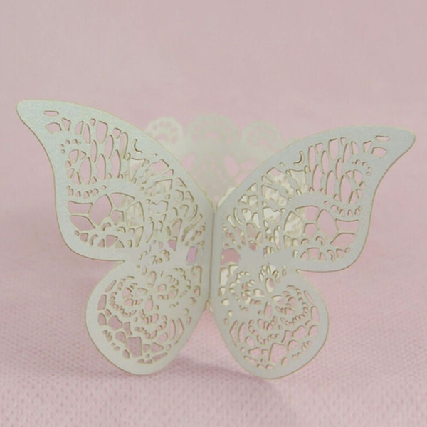 10pcs/lot White Paper Butterfly Napkin Rings Serviette Holder Wedding Banquet Dinner Table Decoration QW882288