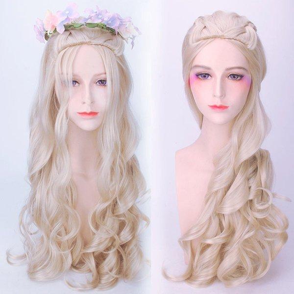 80 см новый горячий Алиса в Стране Чудес Белая Королева косплей парик блондинка волнистые длинные косы синтетические волосы термостойкость волокна партии Hat