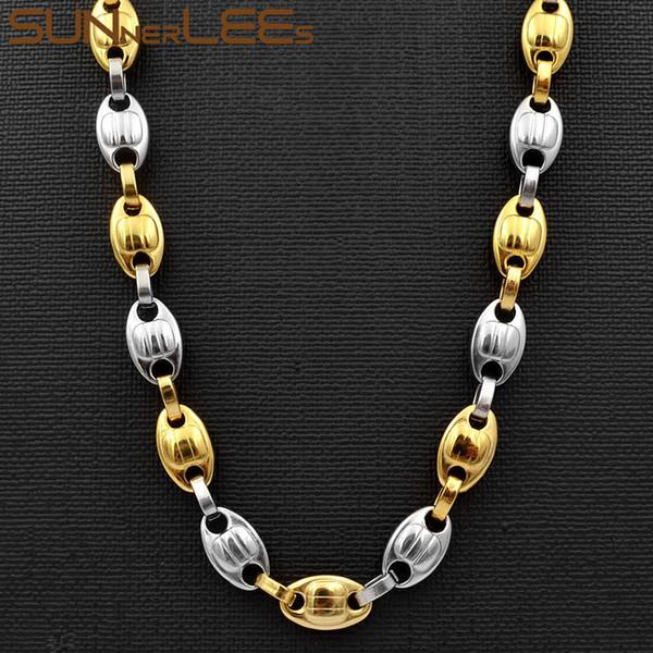 SUNNERLEES Moda Takı Paslanmaz Çelik Kolye 10mm Kahve Çekirdekleri Link Zinciri Gümüş Altın Renk Erkekler Kadınlar Için SC75 N