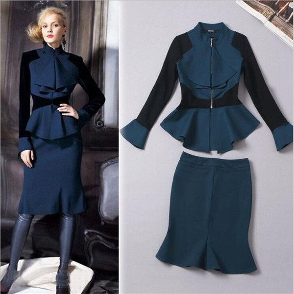 Wholesale-Elegante Women Office Suit Slim Fit Long Sleeve Blazer With Skirts 2 Pieces Sets Ruffles Female Two Pieces Suit For Work A3544