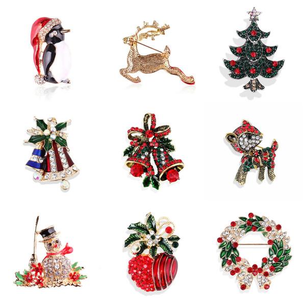Weihnachten Broschen Geschenke für das neue Jahr Nizza Winter Brosche Pins für Frauen Schmuck Strass Broschen