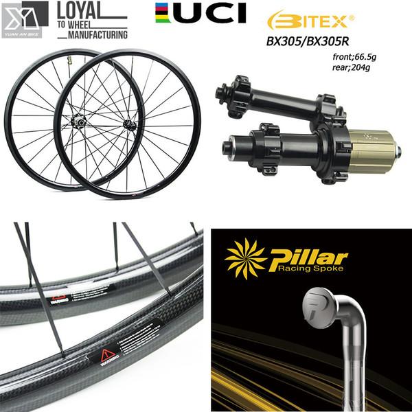 Karbon Fiber Tekerlek 700C Yol Bisiklet Tekerlek 25mm Veya 27mm Genişliği bisiklet Bisiklet Tekerlek BITEX 305F 305R Hub ve Pillar 1423 Konuştu