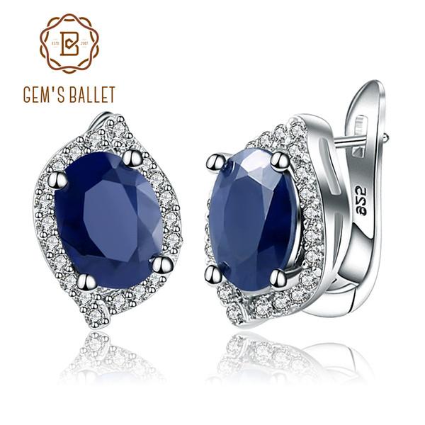 Gem's Ballet 3.26C Natural Blue Sapphire Gemstone Vintage Stud Earrings 925 Sterling Silver Fine Jewelry For Women Drop Shipping Y18110110