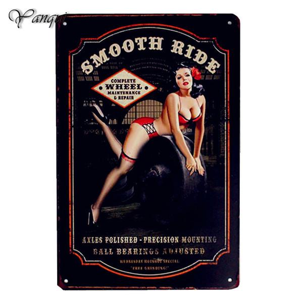 Ride Lisse Sexy Fille En Métal Affiche Mur Décor Art Peinture Antique Garage Bar Pub Fête Maison Voiture Plaque 20 X 30 CM Signes D'étain YQZ073