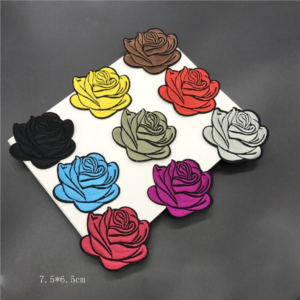 Rose Embroidered Patches For Clothing DIY Sewing Accessories Flowers Applique Fabric Badge 10 colors