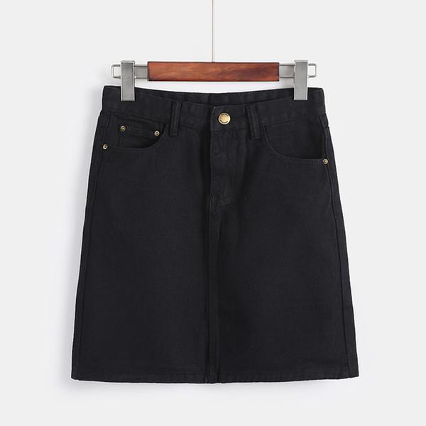 Korean Fashion Spring Denim Skirts For Women Large Size High Waist Mini Saia Girls Black White Jeans Skirt Summer Falda Hot Sale