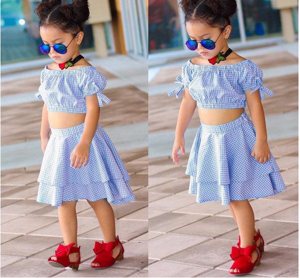Ins summer girls clothing set Boutique girls Blue Plaid Bow Puff Sleeve Tops+cake skirts 2pcs/set 2018 kids clothing