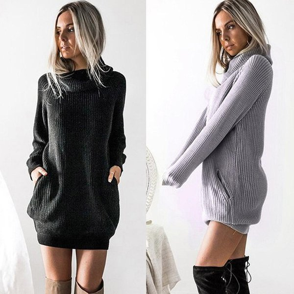 3f856ff659f 2018 New Spring Fashion Women Knitted Dress Casual Streetwear Long Sleeve  Turtleneck Black Dress Loose Plus