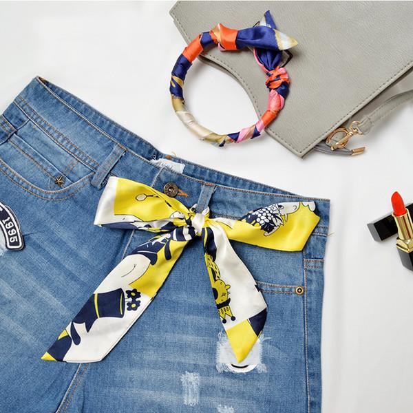Sale 100x4cm Spring Summer Retro Scarf Multicolor Scarf Print Kerchief Woman Neck Long Shawls Wraps Echarpe Bandana