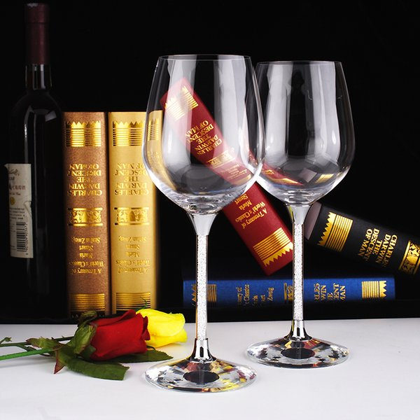 NEW Crystal Wine Glass Set 2 pcs Stemware Rhinestone Stem Top Grade Wholesale price dropshipping OH13257