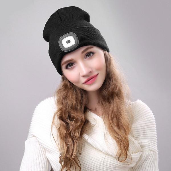 Neue Gestrickte LED-Hut Mode Frauen Männer Häkeln Winter Caps 2018 Weibliche Warme Niedliche Casual Hut Weibliche Männliche Beanies Cap Bonnet