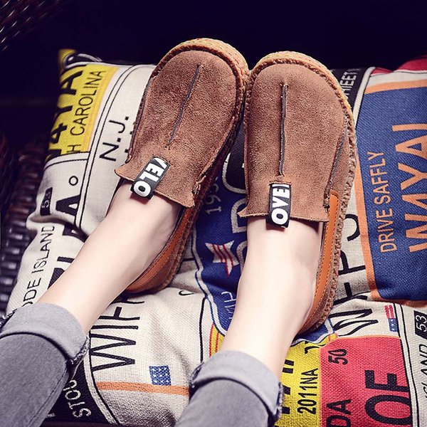 Baideng Walking Shoes Woman Retro Moccasins Loafers Shoes Women Cheap Slip-On Causal Female Flats Chaussures Femme 35-42