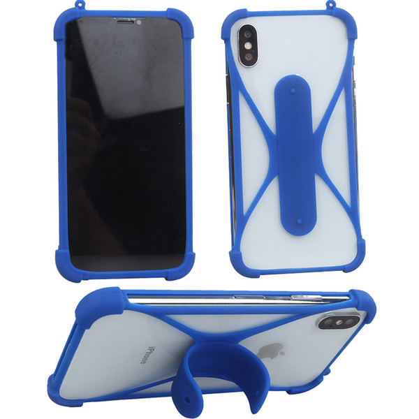 Silicone frame Phone Cases with touch u holder For iPhone 5 6 6s plus Rubber Cover Universal Bumper Case for s5 s6 s7