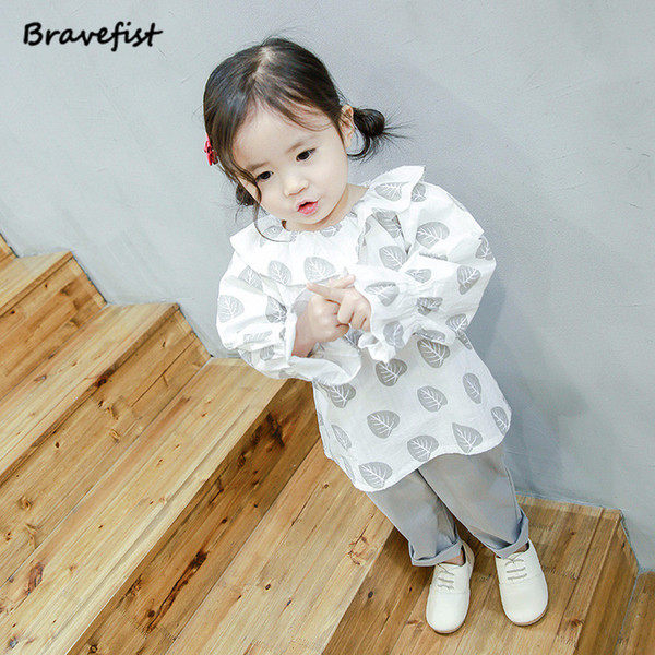 Spring Fall Cotton Long Sleeve Turn-down Collar Blouses School Girl Blouse Tops Kids Baby Girls White Pink Shirts Leaves Print