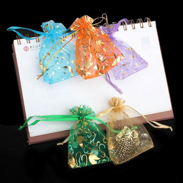 50 Adet Organze Takı Şeker Hediye Çanta Kılıfı Mix Renk Şeker Şeker Çanta Düğün Parti Noel için Yeni Yıl Kullanımı Hediyeler 7x9 cm