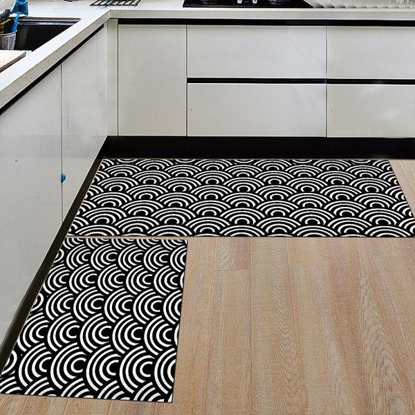 Schwarz Weiß Küche Matte Geometrische Printed Küchenmatten Kochen Teppiche Bodenmatte Balkon Badezimmer Teppich Eingangstür Matten