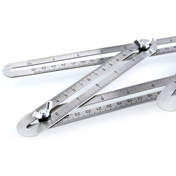 top popular Freeshipping Multi-Angle Template Scale Ruler Stainless Steel Four-sided Multi-function Adjustable Folding Angle-izer Template Tool 2021