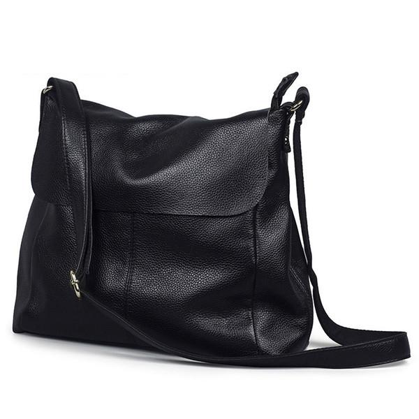 Européen et Américain mode doux Véritable Cuir femmes messenger sacs nouvelle grande capacité simple bandoulière sacs pour femmes sac