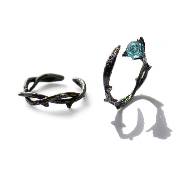 Original Design Vintage Rings For Women Thorny Rose Lovers Couple Open Ring Black Gold Plated 925 Sterling Silver Fine JewelryY1883003