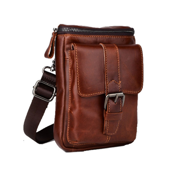 Men Genuine Leather Cowhide Waist Pack Belt Pouch Bag Fashion Cell Mobile Phone Case Messenger Shoulder Cross Body Bags