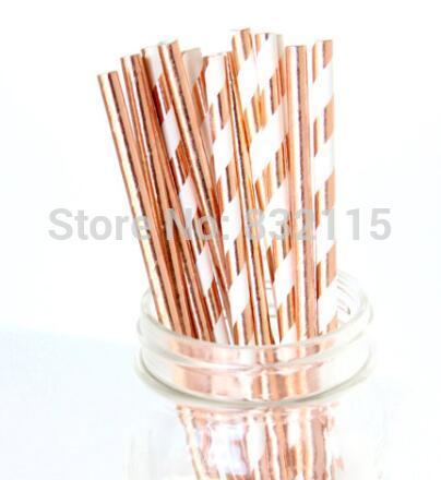 top popular 100pcs mixed 2 Color Rose Gold Foil Straw ,Rose Gold Straw, Straw Flag Baby Shower Wedding Straws 2021