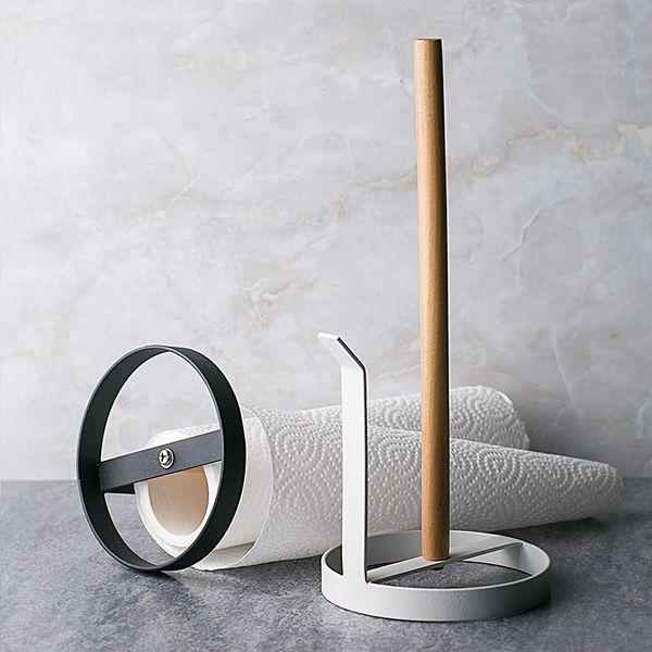 Iron Bottom Seat Type Tissue Holder Wood Roll Paper Holder Creative Kitchen/Bathroom Storage Rack Table Organizer Home Decor
