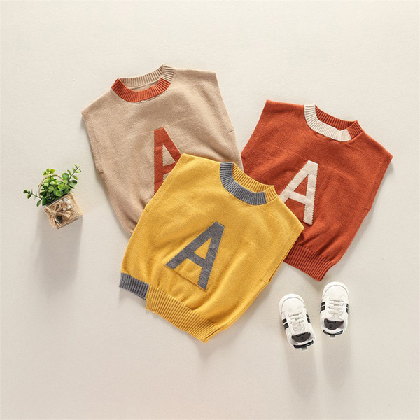 Letter Sweaters Vest Printed A 95% Cotton Fine Wool Yarn Waistcoats Kids Boys O-Neck Jumper Solid Sleeveless Cute Red Yellow Brown Vests