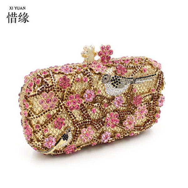 XIYUAN MARKE Frauen Wedding Dress Bridal Goldene Kristall Diamant Abend Kupplungen Handtaschen Metall Hard Case Lady Schulter Handtaschen
