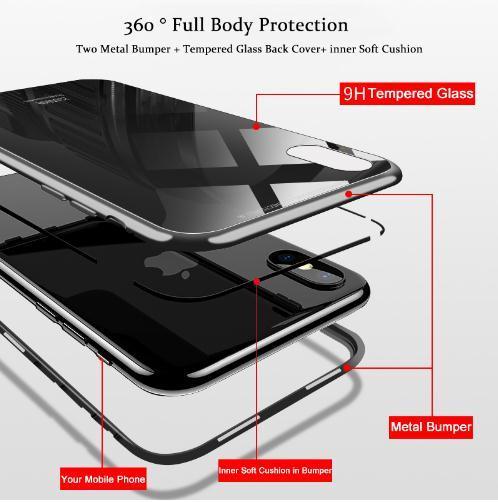 Cover Magnetica Alluminio Custodia Apple iPhone 7 Vetro Temperato 9H