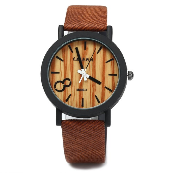 Simulation Holz Uhren Quarz Männer Uhren Casual Holz Farbe Lederband Uhr Holz Männlich Armbanduhr Relogio Masculino