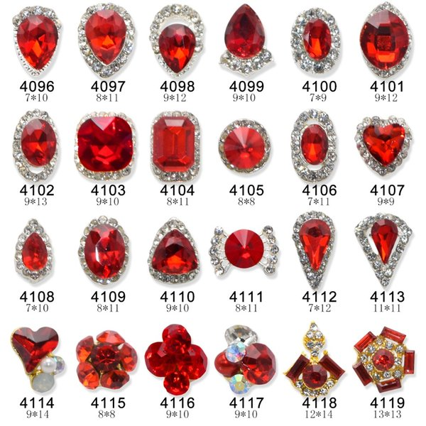 100pcs luxurious Bride glitter redgems Alloy 3d nail jewelry gem strass nail art DIY top quality charms supplies Y4096-4119